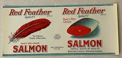 Vtg 1920/'s Lot 3 Red Feather Tartan Tomato Pumpkin Beets Tin Labels Food Canada