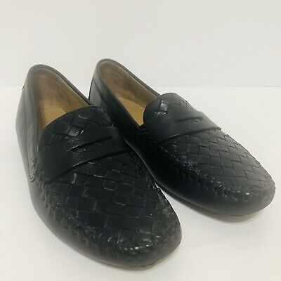 Robert Zur Womens Petra Black Leather Driving Loafer Sz 7M Flats Shoes