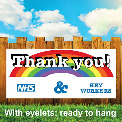 Thank You Nhs & Key Workers Rainbow Outdoor Pvc Banner - Sign Vinyl Banners