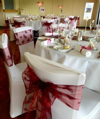 Beautiful Butterfly Burgundy Flocked Organza Chair Sashes Wedding - packs 25