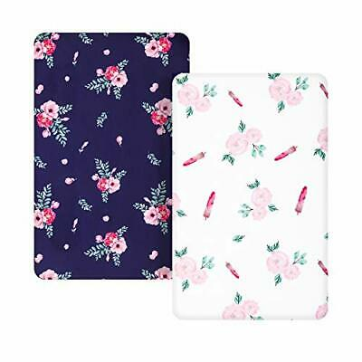 TILLYOU Microfiber Floral Pack N Play Sheets, Mini Portable Crib (Navy & White)