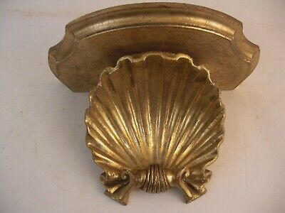 Large Italian Carved Wood Gilt Wall Bracket Shelf Made in Italy