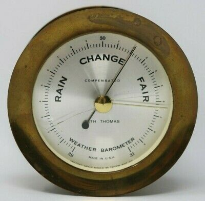Seth Thomas Brass Ships Barometer Corsair E537-010 Compensated USA