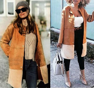 ZARA  Camel Coat With Contrasting Faux Suede And Fur  BNWT SIZE S