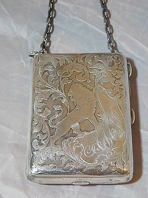STERLING SILVER ENGRAVED ANTIQUE COMPACT CASE LION IMAGE HEAVY 9 OZs BLACKINTON