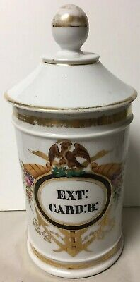 Antique Decorated Porcelain Apothecary Jar Figural Eagle Snakes Ext: Card:b:
