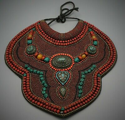 Impresiive Authentic Old Tibetan Collar Necklace Coral Amber And Turquoise Large