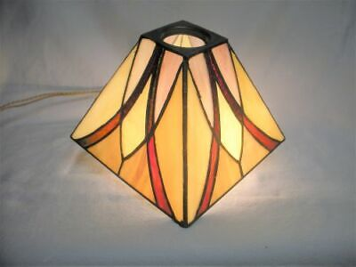 Arts & Crafts QUOIZEL Leaded Stained Slag Glass Lamp Shade Mission Tiffany Style
