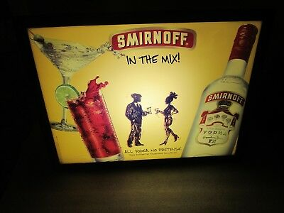 Smirnoff Vodka Advertising BAR SIGN lighted IN THE MIX Advertising (COOL, RARE)