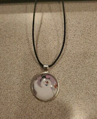 Frosty The Snowman Christmas Kids Unisex Pendant Black Cord Adjustable Necklace