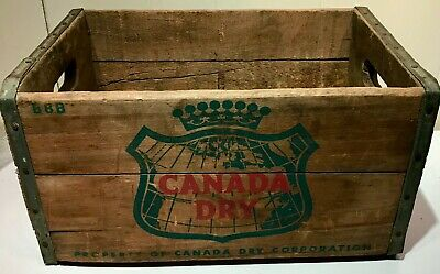 """Vintage 1960""""s Canada Dry Ginger Ale Wood Carry Advertising Crate B8B Display"""
