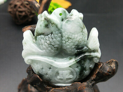 100% Chinese Delicate natural Hand-carved Jadeite jade green Two fish pendant