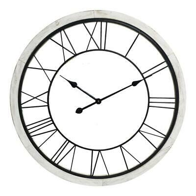 Large Hampton Timber Floating Round Clock Wooden Industrial Wall Decor 70x4cm