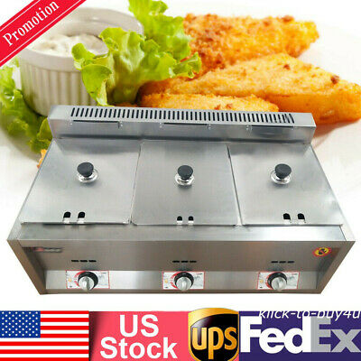 6L Commercial Countertop Deep Gas Fryer 3 Wells Stainless For Restaurant Kitchen