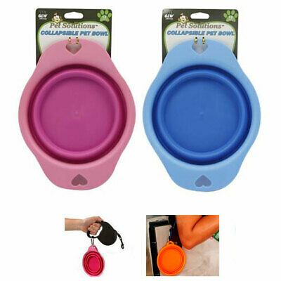 Collapsible Silicone Pet Bowl Dog Cat Travel Feeding Water Food Dish Feeder New