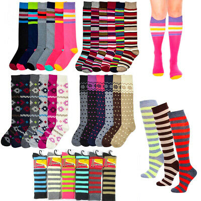 6 Pairs Women Comfort Socks Lot Long Lady Zig Zag Argyle Knee High Pack