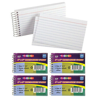 """4 Pk Spiral Bound Index Cards 3"""" X 5"""" Ruled 60Ct White School Office Perforated"""