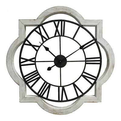 Large French Timber Floating Round Clock Wooden Industrial Wall Decor 70x5cm