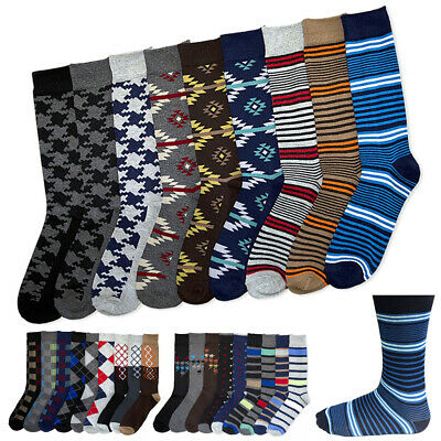6 Pairs Men's Colorful Dress Socks Fun Funky Assorted Color Patterned Size 10-13