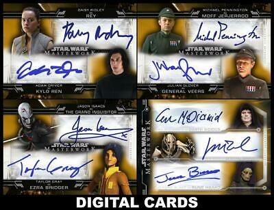 Topps Star Wars Card Trader MASTERWORK 2020 4 CARD GOLD DUAL & TRIPLE SIGNATURES