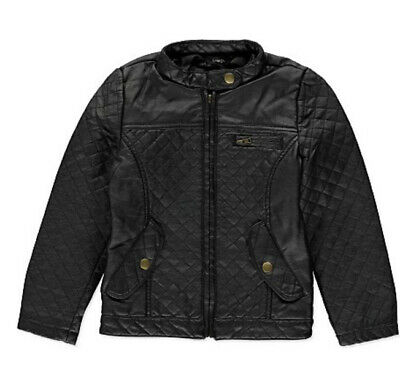 George Girls Quilted Black Leather Look Biker Jacket Age 5-6 Years Ex Cond