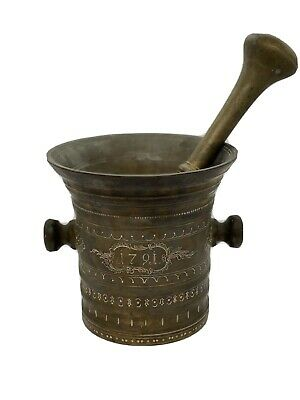 Antique VERY VERY  Old  Brass Copper Mortar And Pestle 22lbs