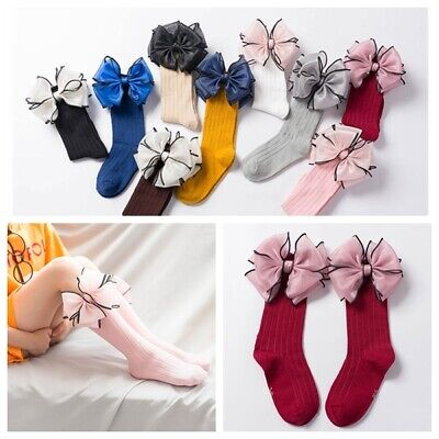Girls Kids Children Lovely Big Bow Wedding Party Christening Socks 2-8 years