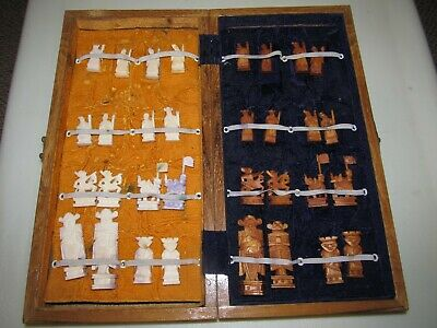 Vintage Chinese Oriental Asian Bone Hand Carved Chess Set