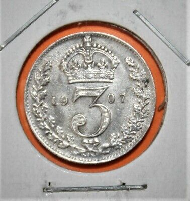 Great Britain 3 Pence 1907 Extremely Fine Silver Coin