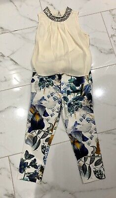 Gorgeous Girls Outfit Floral Trousers Cream Top Next/River Island Age 5, Ex Cond