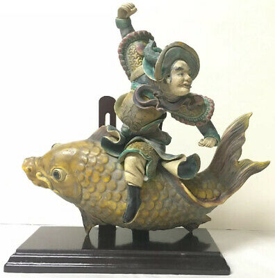 Chinese Glazed Pottery Roof Tile Of A Warrior Riding A Koi Fish