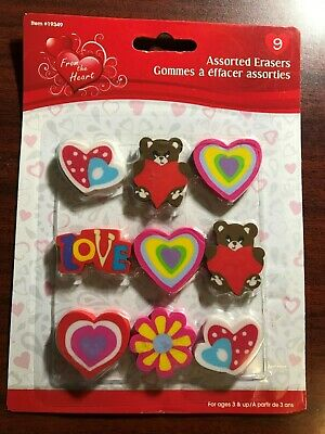 New - 9 Piece Assorted Shaped Erasers (Fast Canadian Shipping) #19349