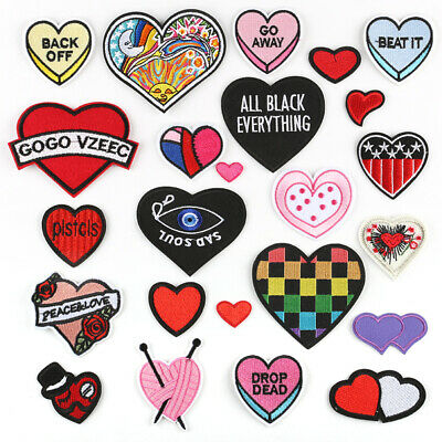 Applique Crafts  Heart DIY Embroidered Sew Iron On Badge Patches Clothing Fabric