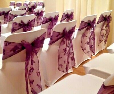 Beautiful Purple Butterfly Flocked Design Organza Chair Sashes Wedding -packs 25