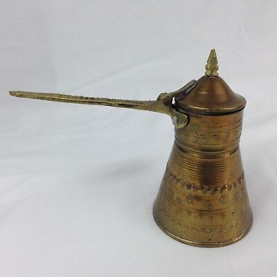 Brass Turkish Style Tea Coffee Serving Pitcher Handmade Ali Al-Tartoussi Vintage