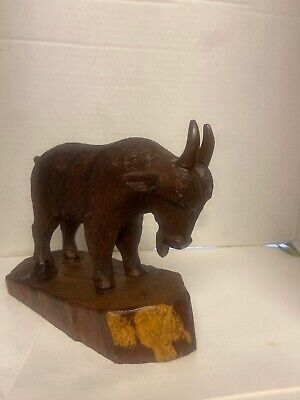 Mountain Goat Vintage Carved Ironwood Statue Excellent Detail