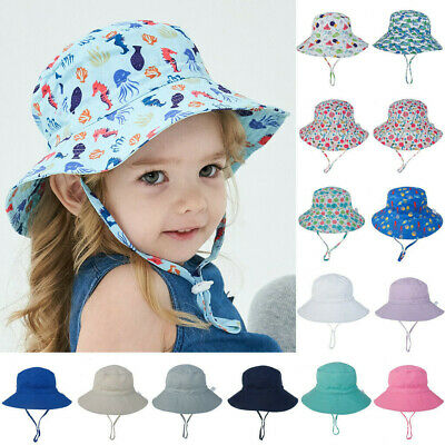 Baby Boys Girl Sun Hat Summer Bucket Hats with Chin Strap Newborn Unisex Sun Cap