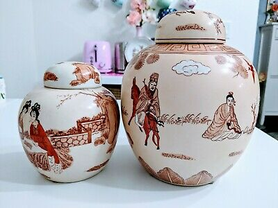 Set Of Two Handpainted Porcelain Oriental Geisha, Chinese Vintage Ginger Jars.