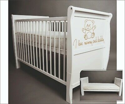 Wooden Baby Cot Bed & Foam Mattress  ✔ Converts to Toddler Bed - I love ...