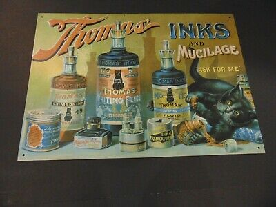 L.H. Thomas Inks And Mucilage Chicago BLACK CAT metal sign Wall plaque decor