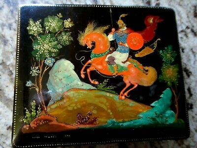 Signed 1976 Russian 10480 Black Lacquer Trinket Box w/Certificate, Made in USSR
