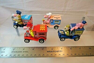 4 PINK PANTHER Die Cast Vehicles TALBOT Toys - Police, Fire, Bank & Painting
