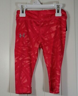 Nwt Girls Youth Under Armour Pink Capri Athletic Fitted Leggings Pants Sz 2T