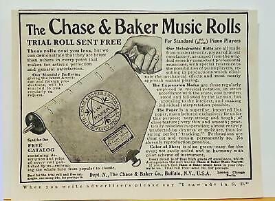 Chase & Baker Music Rolls Player Piano Buffalo New York PRINT AD 1907 Antique E5