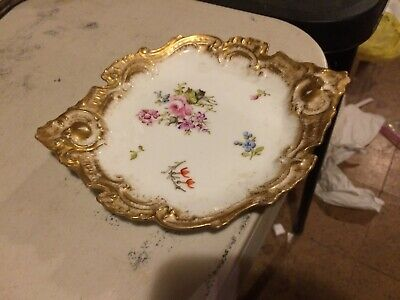Antique Limoges/Serves French Porcelain Plate Encrusted Gold Dresden Flowers