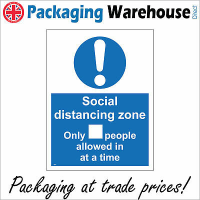 Ma634 Social Distancing Zone Only People Allowed In At A Time Sign Virus Safety