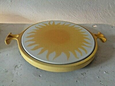 Large Heavy Cast Iron Trivet  Yellow Handles Oven to Table Vintage Kitchen