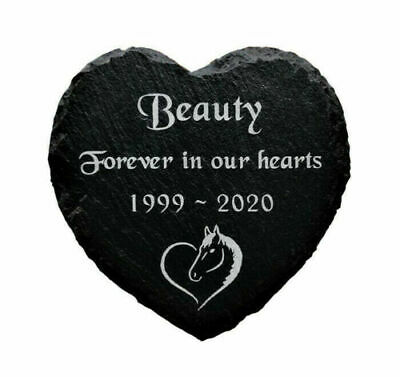 Personalised Engraved Pet Memorial Slate Heart Grave Marker Plaque for a Horse