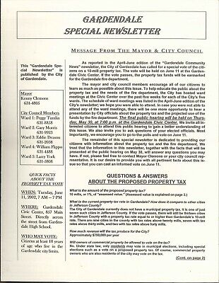 Gardendale Alabama Special Newsletter May 2002 Property Tax Vote Fire Department