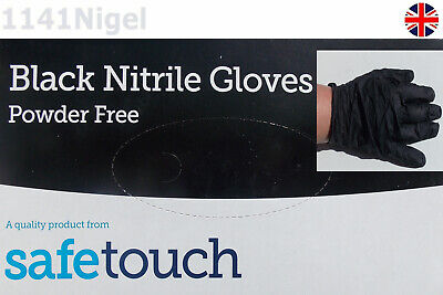 Black Nitrile Gloves Powder Free Safetouch Medical Class 1 Disposable  XL